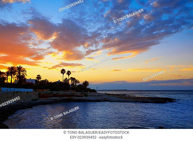 Denia sunset las Rotas in Mediterranean Spain of Alicante