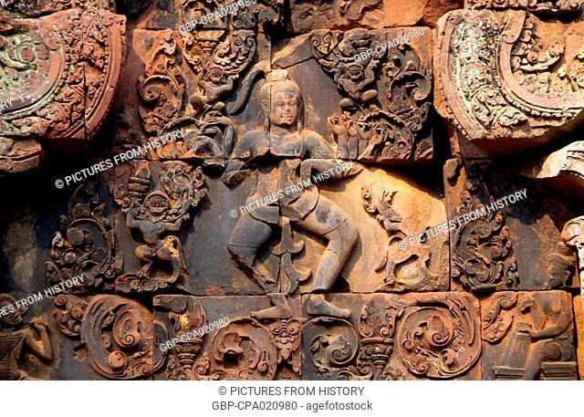 Cambodia: A depiction of Shiva as Nataraja, Lord of Dance, eastern gopura of the inner enclosure, Banteay Srei (Citadel of the Women), Angkor