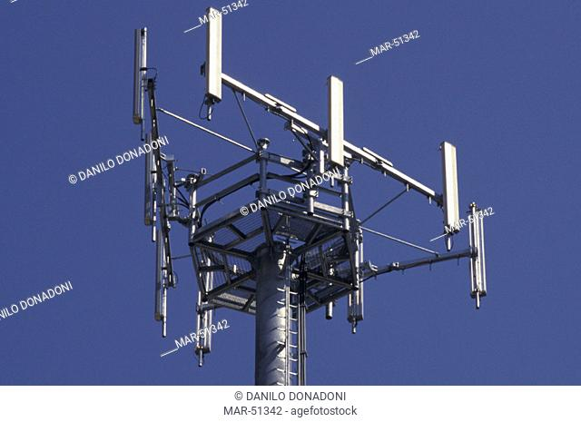 repeater and antennas, valcava, italy, Stock Photo, Picture And