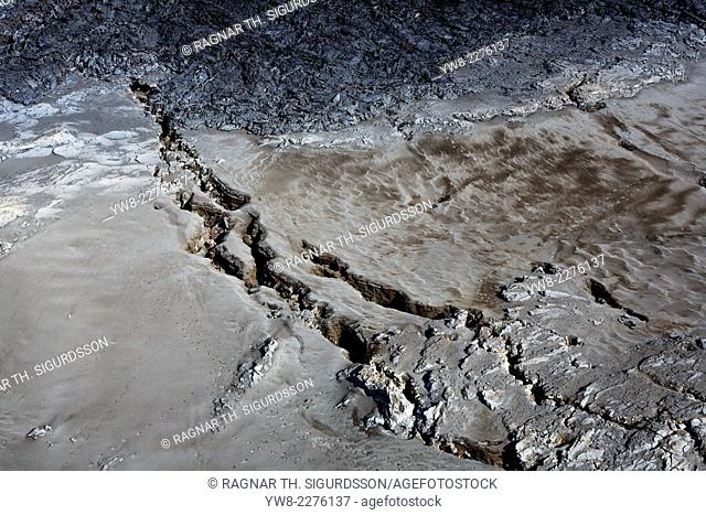 Huge cracks and lava from the eruption at Holuhraun near the Bardarbunga Volcano, Iceland. August 29, 2014 a fissure eruption started in Holuhraun at the...