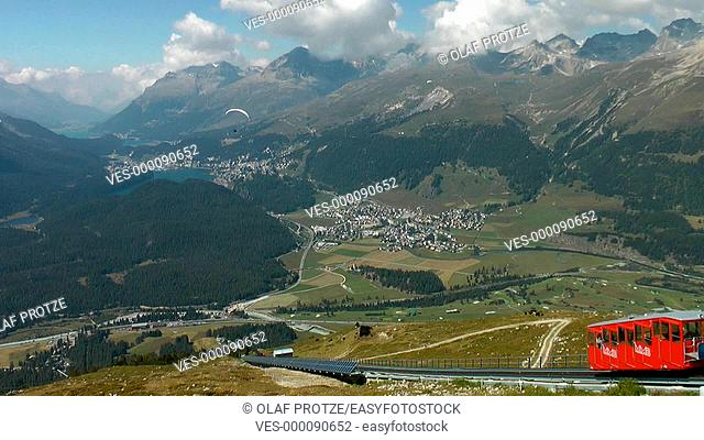 Paraglider at Muottas Muragl, Switzerland