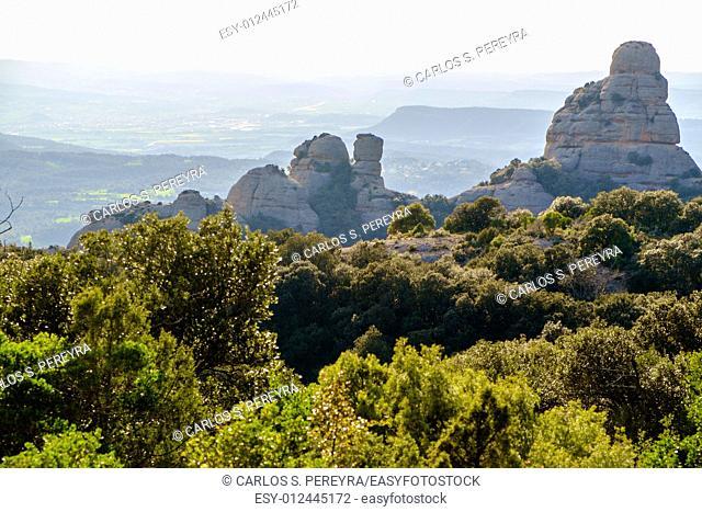 Landscape in the mountain of Montserrat in Catalonia, Spain