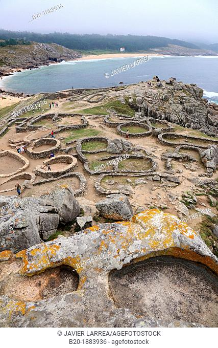 Ruins of the human settlement of Castro de Baroña, near of Porto do Son, A Coruña province, Galicia, Spain