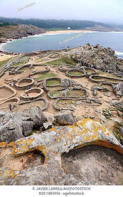 Ruins of the human settlement of Castro de Baroña, near of Porto do Son, A Coruña province, Galicia, Spain