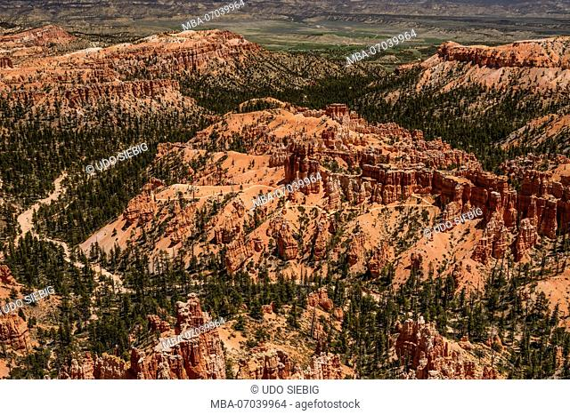 USA, Utah, Garfield County, Bryce Canyon National Park, Amphitheater, View from Upper Inspiration Point