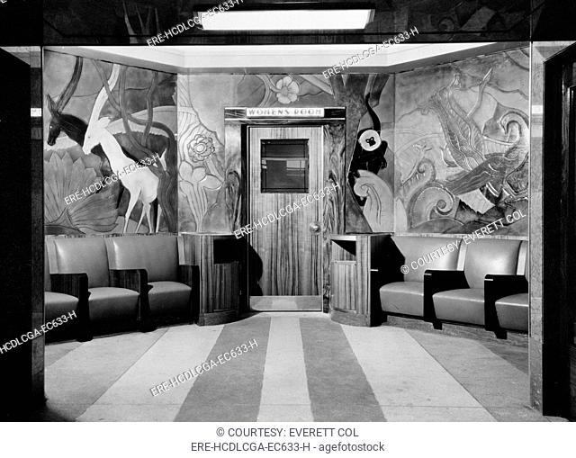 Cincinnati Union Terminal, linoleum sculpture, entrance to women's room, constructed in 1933, partially demolished in 1974, Cincinnati, Ohio