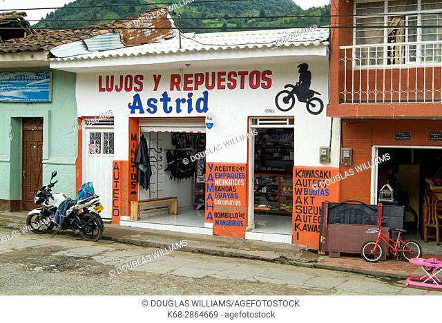 A motorcycle repair shop in Silvia, near Popayan, Colombia, South America