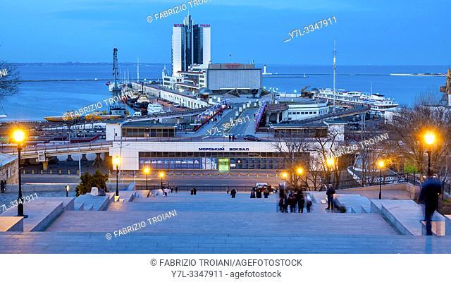 Potemkin Stairs and the Odessa sea port ,Odessa, Ukraine