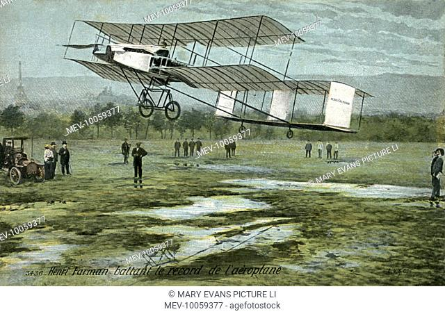 Henry Farman, an Englishman working in France, wins the Grand Prix for distance, at Reims, with a flight of 180 km in just over three hours
