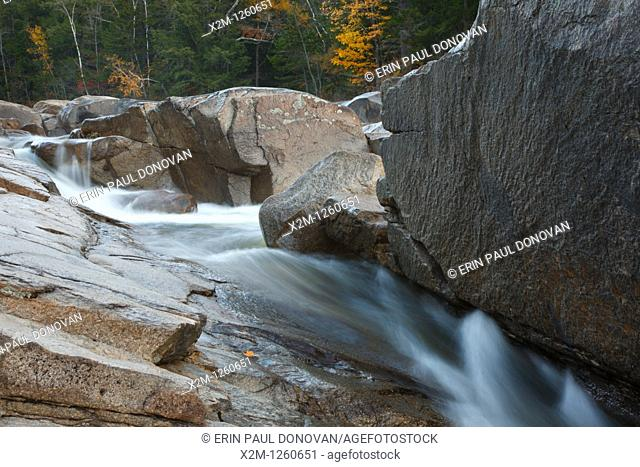 Lower Falls scenic area along the Kancamagus Highway route 112, which is one of New England's scenic byways located in the White Mountains, New Hampshire USA