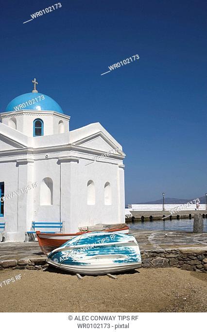 Greece, Cyclades Islands, Mykonos,church