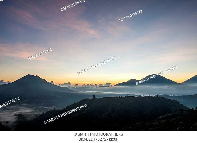 Hilltops over morning fog in remote landscape, Kintamani, Bali, Indonesia