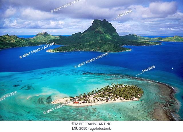 Mount O'Temanu and barrier reef at Bora Bora, Tahiti