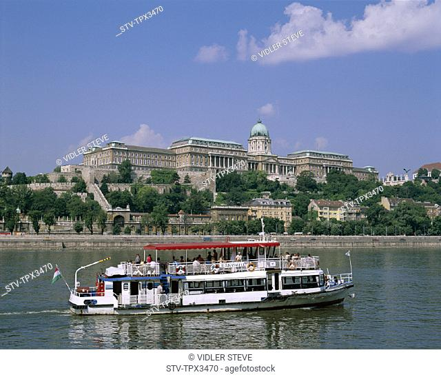 Boat, Buda, Budapest, Danube river, Holiday, Hungary, Europe, Landmark, Royal palace, Tour, Tourism, Travel, Vacation