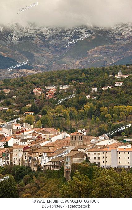 Spain, Castilla y Leon Region, Salamanca Province, Bejar, elevated town view with the Sierra de Bejar Mountains