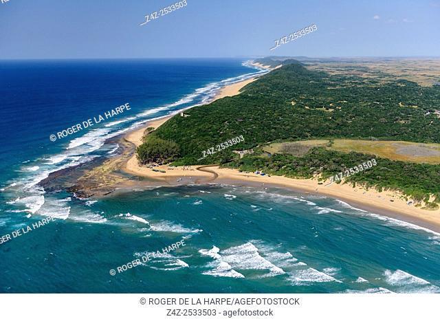 Aerial view of Sodwana Bay and the Maputaland coastline. iSimangaliso Wetland Park (Greater St Lucia Wetland Park). KwaZulu Natal. South Africa