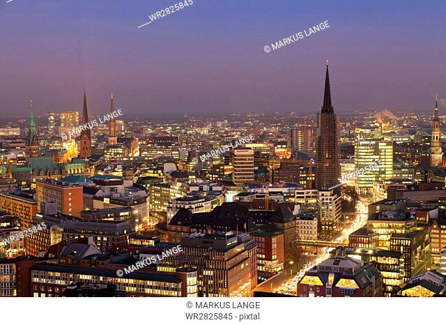 View over the city center at night, Hamburg, Hanseatic City, Germany, Europe