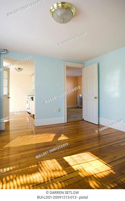 Empty room in apartment with hardwood floor