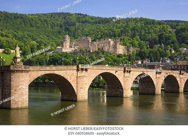 City view with old bridge and castle-Heidelberg, Baden Wuerttemberg, Germany