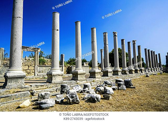 Agora of Perge, Old capital of Pamphylia Secunda. Ancient Greece. Asia Minor. Turkey
