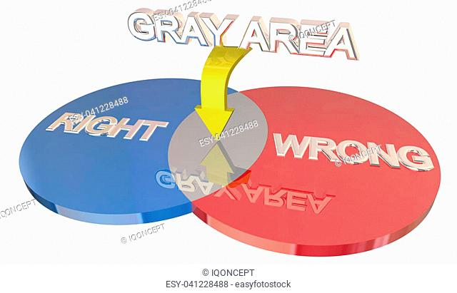 Gray Area Right Vs Wrong Ambiguity Venn DIagram 3d Illustration