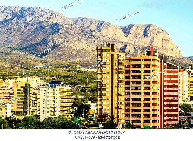 Cityscape of Benidorm, hotels and apartment - residential buildings, Province of Alicante, Costa Blanca, Western Mediterranean Sea, Southern Spain