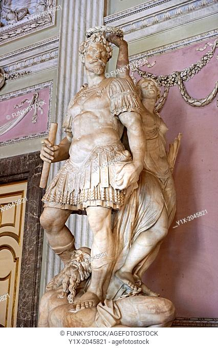 """""""""""""""""""""""The Room of the Bodyguards"""""""" - The statue of Alessandro Farnese dressed as a Roman commander being crowned for the victory over the people of Flanders and..."""