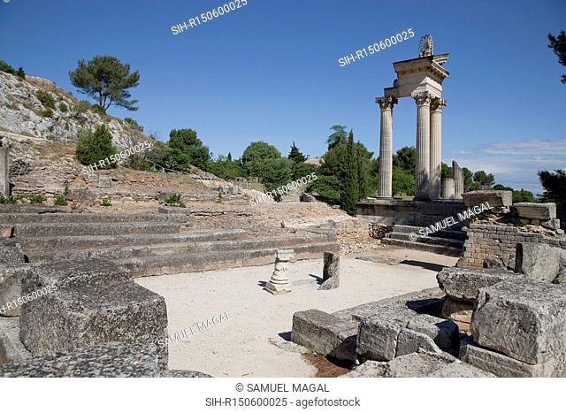 Reconstruction of part of the facade of one of the twin temples of the imperial cult in the archaeological site of Glanum