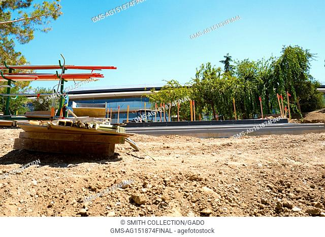 Construction equipment and dirt are visible at the Apple Park, known colloquially as 'The Spaceship', the new headquarters of Apple Inc in the Silicon Valley...