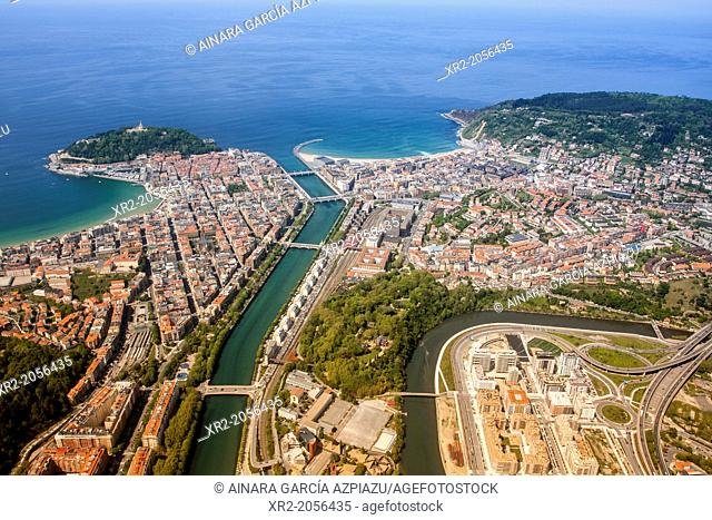 Aerial view of Concha Bay, Donostia - San Sebastian, Basque Country