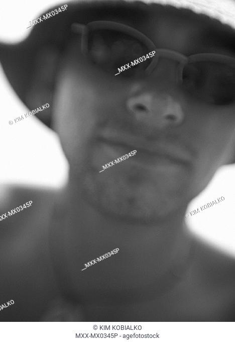 close-up, blurred portrait of man
