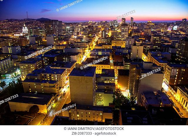 Aerial View of San Francisco,looking west from O'Farrell street,California,USA