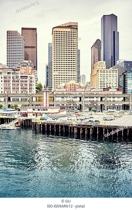 View of waterfront with Columbia Centre and Henry M Jackson Federal buildings, Seattle, Washington State, USA