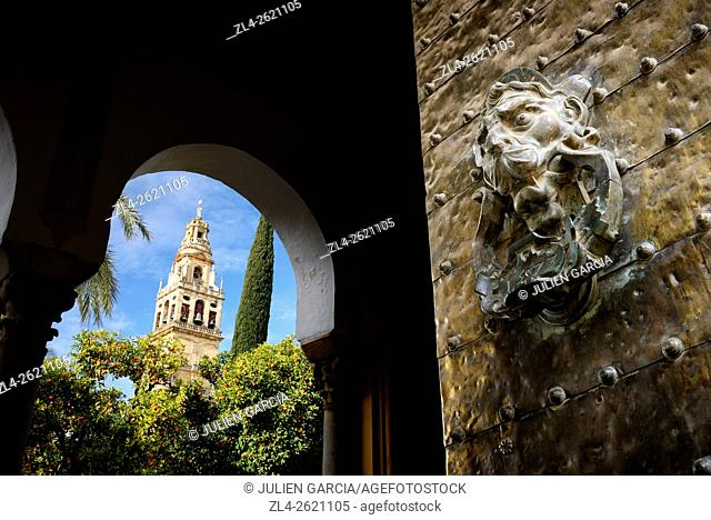 Spain, Andalusia (Andalucia), Cordoba, historic centre listed as World Heritage by UNESCO, the bell tower of the Mosque Cathedral (Mezquita) seen from Santa...