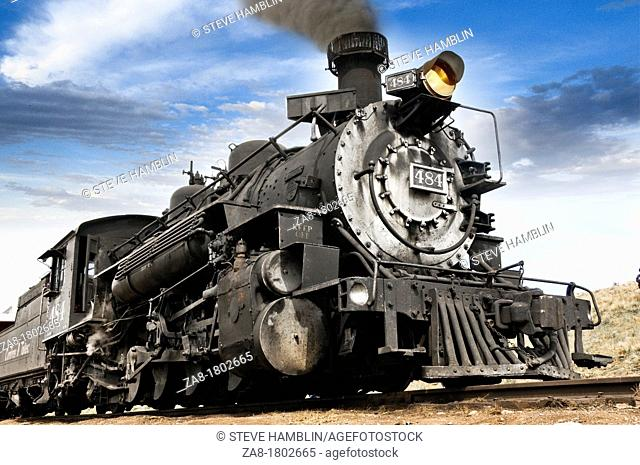 Old fashioned vintage locomotive train engine