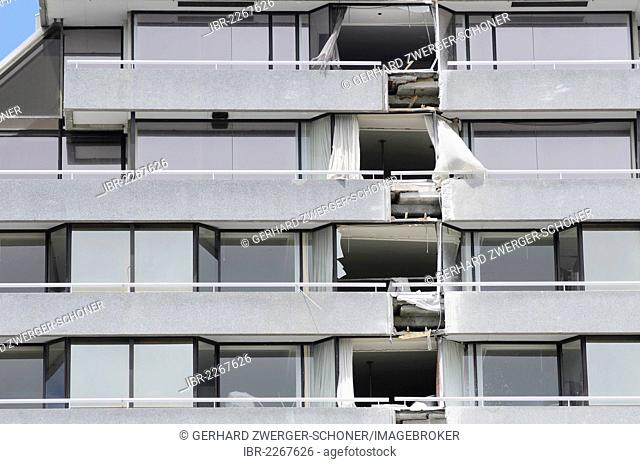 Facade of the famous Crown Plaza Hotel, heavily damaged by earthquakes, Christchurch, South Island, New Zealand