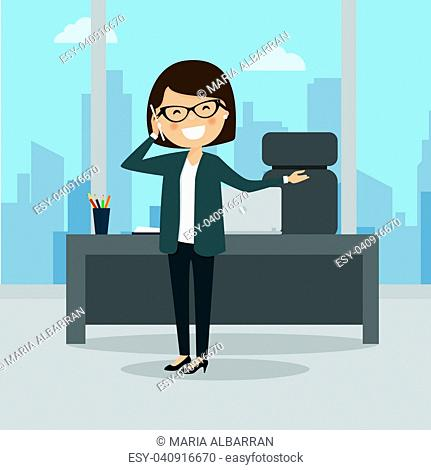 Business woman talking on the phone at the work. City background. Vector illustration