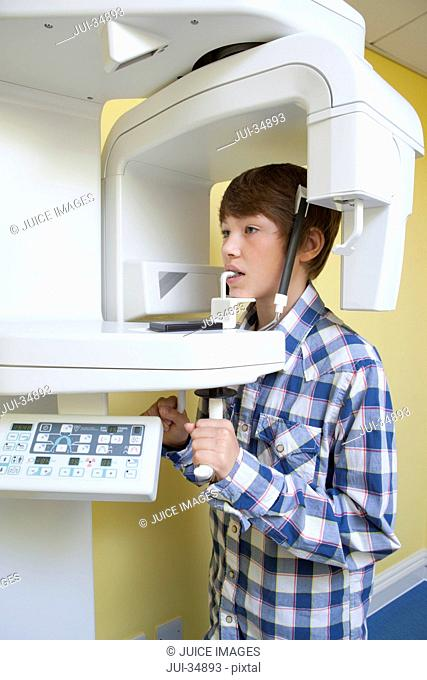 Boy undergoing dental x-rays