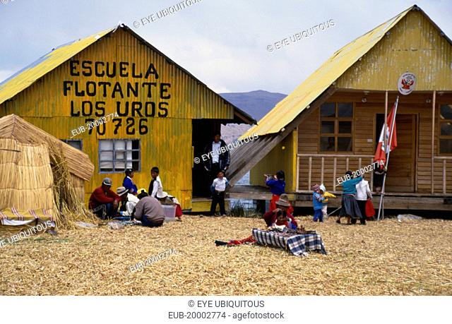 General view of a school building on a floating reed island Islas de los Uros