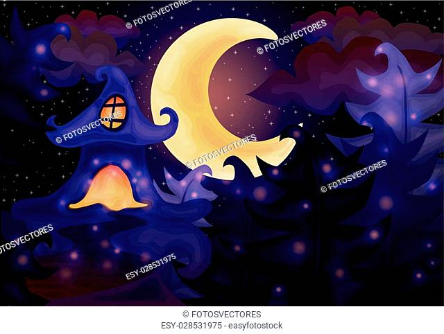 Halloween night background with haunted house, vector