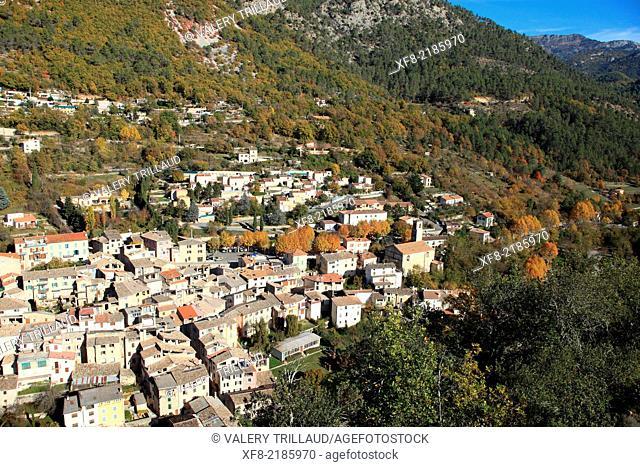 Village of Roquesteron, Vallée de l'Esteron, Alpes-Maritimes, Parc régional des Préalpes d'Azur, Provence-Alpes-Côte d'Azur, France