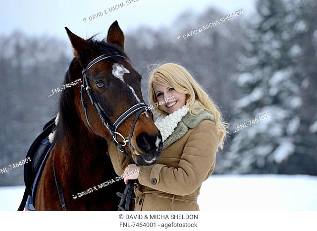 Female rider with her horse, Upper Palatinate, Bavaria, Germany, Europe