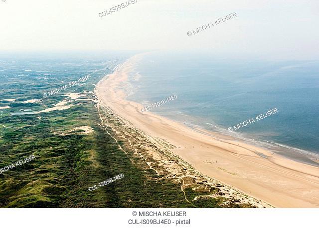 Dunes and north sea, IJmuiden, Noord-Holland, Netherlands