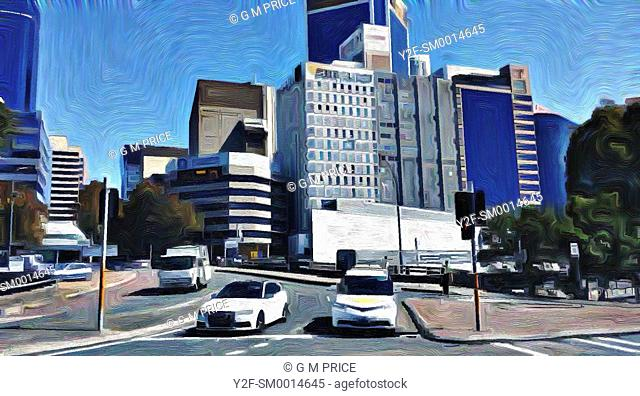 painting filter view of cars at traffic lights with North Sydney commercial skyline