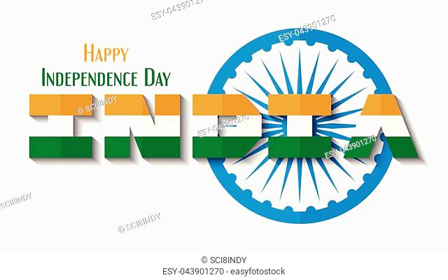 Happy Independence day of India country and Indian people with Ashoka wheel. Vector illustration design isolated on white background