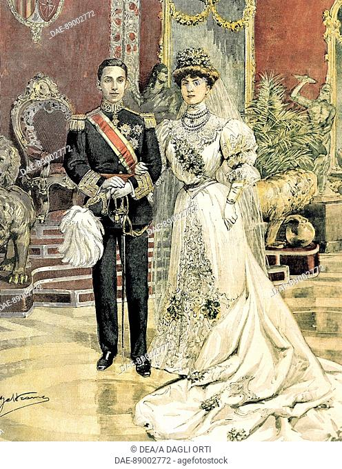 The marriage of King Alfonso XIII of Spain and Princess Ena of Battenberg. Achille Beltrame (1871-1945) from La Domenica del Corriere, June 3, 1906