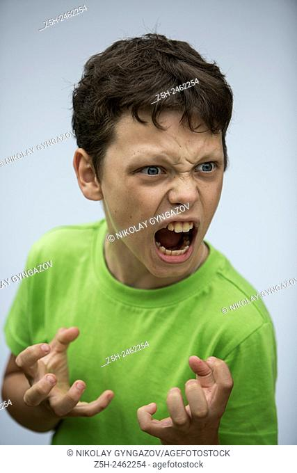 Russian Federation. Belgorod region. The boy with expressive face