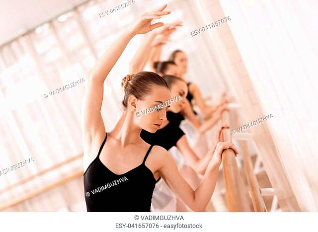 They train dance moves. They use ballet barre. They are professional theater actors