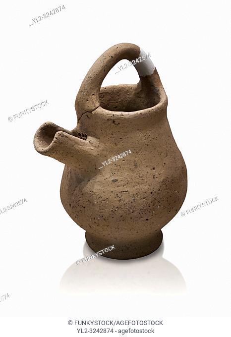 Hittite terra cotta side spout with strainer basket handle pitcher. Hittite Period, 1600 - 1200 BC, Ortakoy Sapinuva . Ortakoy Sapinuvwa