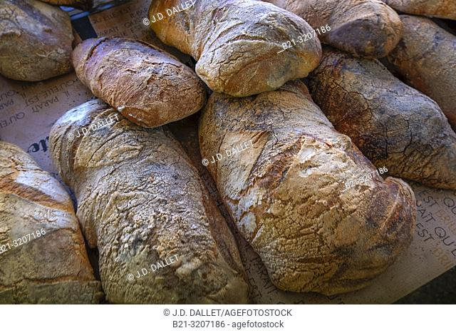 """France, Auvergne, Cantal, Food: """"""""Pain de campagne"""""""" (countryside bread)"""